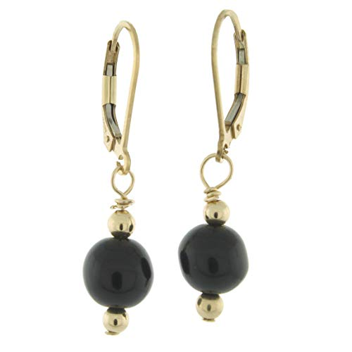 Black Onyx Bead Earrings - 14K Gold-filled 8mm Gemstone Bead Dangle Lever Back Earrings, Black Onyx