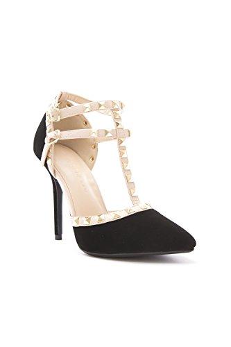 Strap Diva Black Sandal Pointy Toe Stud Heel Wild Pump T Ankle Gold Nubuck Womens Stiletto Strappy zgfHqBdc