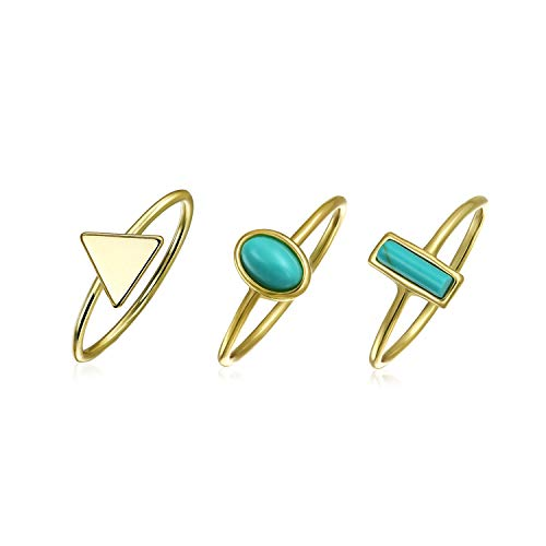 3 Set Geometric Compressed Turquoise 14K Gold Plated 925 Sterling Silver Midi Knuckle Stackable Ring 1MM Band For Teen
