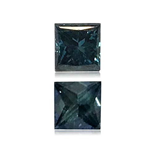 (Mysticdrop 0.23 Cts of 3.2x3.2x2.5 mm SI2 Princess Cut Teal Blue Diamond (1 pc) Loose Color Diamond)
