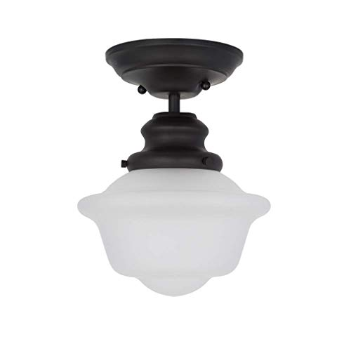 Ravenna Home Flush Mount Pendant Ceiling Light with Opal Glass Shade And LED Light Bulb - 7.75 x 7.75 x 10 Inches, Dark Bronze