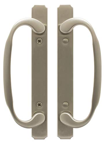 FPL I886-15 Solid Brass Sliding Glass/Patio Door Handle Set, Satin Nickel, Full Dummy, 3-15/16