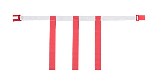 Champion Sports Adjustable Magnetic Flag Football Belts: Flag Football Belt Set - Adjustable Flag Football Belts with Magnet Buckles - White Belt with 3 Red Flags and Buckle - Medium Size, 12 Pack
