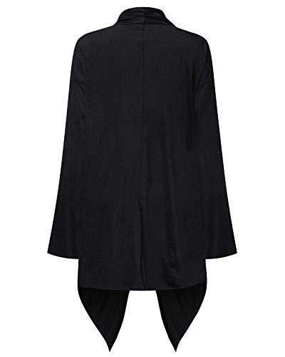 Moda Comodo Cappotti Grazioso Lunga Donna di Baggy Schwarz Manica Autunno Elegante Irregular Monocromo Coat Windbreaker Cardigan qWAwH4RaOa