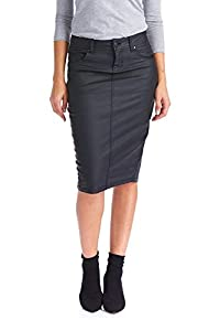 Esteez Women's Pencil Skirt – Wax Coated Denim - Modest - Faux Leather - London