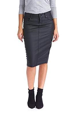 Esteez Women's Pencil Skirt – Wax Coated Denim - Modest - Faux Leather - London