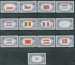 1943 44 U S Overrun Nations Flags 909 21 Mint Stamp Set