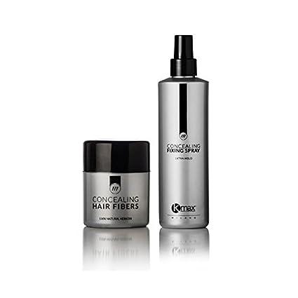 Kmax Concealing Hair Fibers – Starter Kit Color Fibre capillari + Lacca aglutinante negro