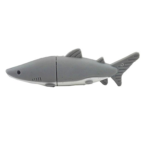 Aneew 16GB Gray Pendrive Shark Fish USB Flash Drive Memory Thumb Stick (Fish Usb)