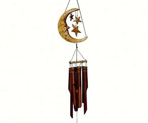 Cohasset Gifts 179A Cohasset Crescent Moon and Stars Bamboo Wind Chime, Antique Natural Finish