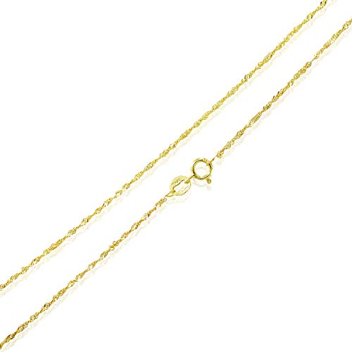 Sea of Ice Yellow Gold Flashed Sterling Silver 1mm Twisted Curb Singapore Rope Chain Necklace, Size 36