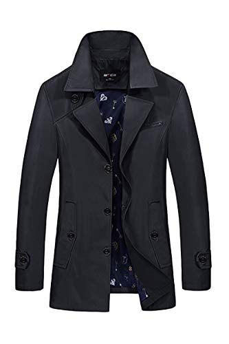 Men's Single Breasted Windbreaker Jacket Classic Elegant Notch Lapel Trench Coat