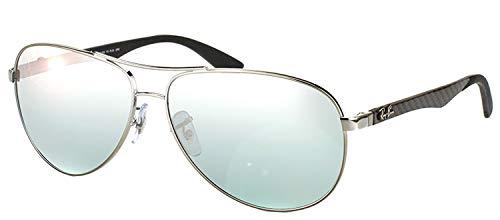 Ray-Ban Men's RB8313 Aviator Carbon Fiber Sunglasses, Shiny Gunmetal/Polarized Blue Mirror Silver, 61 mm (Ray Ban Knockoffs)