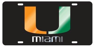 - Miami Hurricanes Black Mirrored Auto License Plate Tag