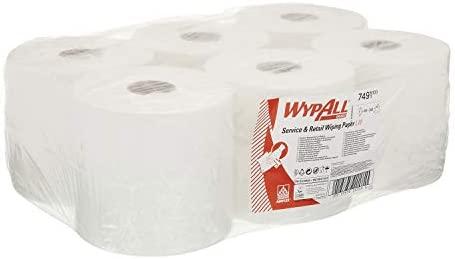 Blanco 6 Rollos X 400 de 1 Capa Wypall 7491 Pa/ños Dispensaci/ón Central Roll Control
