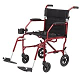 Medline Heavy Duty Bariatric Transport Chair, Extra Wide 22'' Seat, Permanent Full-Length Arms, Elevating Legrests, Red Frame