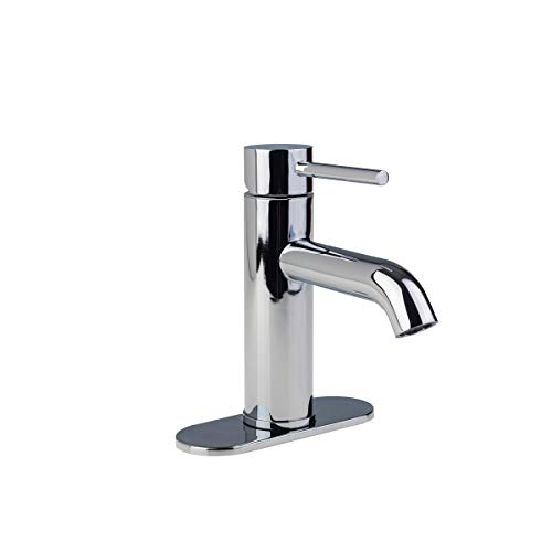 Fontaine by Italia 81H13-CHR-DP Modern Contemporary Euro 3 Hole Centerset Single-Handle Bathroom Lav Wash Basin Faucet Tap with Deck Plate IAPMO and CUPC certified in Chrome