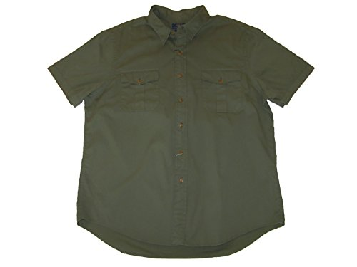 RALPH LAUREN Polo Mens Slim Fit Military Inspired Short Sleeve Shirt Army Olive (XX-Large)