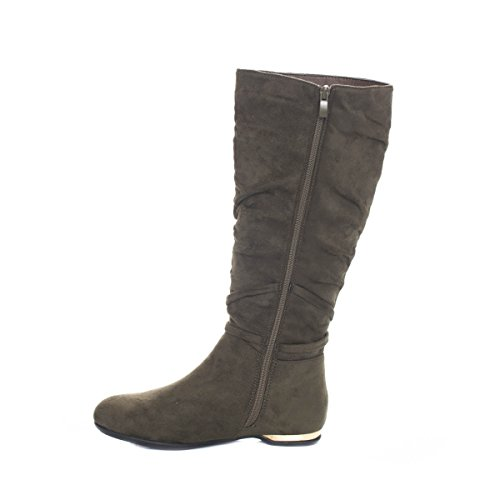 Soho Chaussures Femmes Genou Haute Daim Hiver Talon Mode Bottes Plates Olive