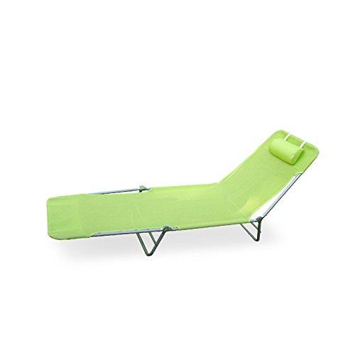 Green Outdoor Folding Reclining Beach Sun Patio Chaise Lo...