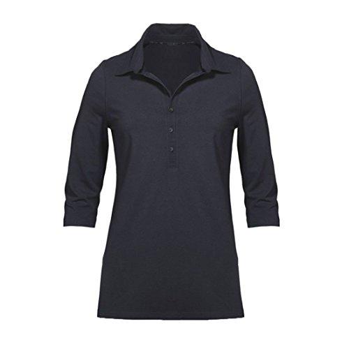 Modisches Damen Polo Shirt mit 3/4 Arm in Navy Blau, Gelb und Weiß mit grauen Streifen Größen M-XL (L, Navy Blau)