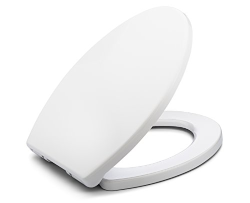 - Bath Royale BR237-00 MasterSuite Elongated Toilet Seat with Cover, White, Slow-Close, Quick-Release for Easy Cleaning.