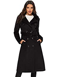 Womens Wool Coat Double Breasted Winter Long Trench Coat with Belt