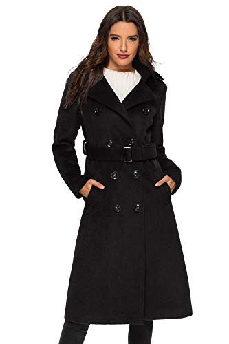 (Escalier Women's Trench Coat Double Breasted Winter Wool Peacoat with Belts Black S)