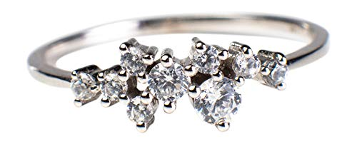 Sasha Sparkle Ring by Blush & Bar – Thin Sparkler Band for Wedding, Prom, Special Occasions (Silver, ()