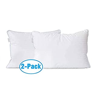 2 Pack Down Alternative Bed Pillows for Sleeping – 100% Cotton Cover Hypoallergenic Sleep Pillow for Back and Side Sleeper - Queen Size