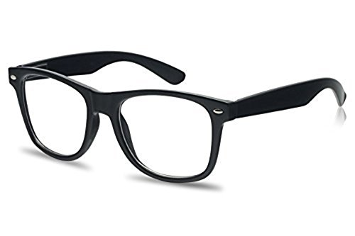 SunglassUP Retro Classic Nerd Geek Novelty Horned Rim Clear Lens Eye Glasses Black Clear and White Frames (Black | Clear Lens, - Nerd Glassses