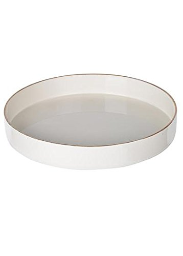 Round High Gloss Lacquered Tray in White with Gold Trim - 10.25