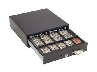 MMF MMFVAL1314M04 VAL-u Line Cash Drawer 13 Inch x 14 Inch Manual 4B5C Till Touch Open 2 Slots Black