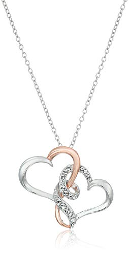 - Sterling Silver Two Tone Double Heart Pendant Necklace Made with Swarovski Crystal (18