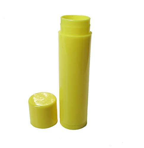 Nakpunar 100 pcs Yellow Lip Balm Tubes with Caps - 0.15 oz FDA Approved, BPA Free, MADE IN USA ()