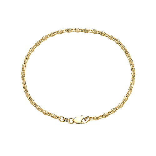 14K Solid Yellow Gold 3.0mm Oval Mariner Link Chain Necklace- Multiple Lengths Available (8) 14k Gold Marine Link