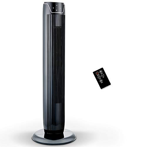 Fan, Oscillating Tower Fan with LED Display, Remote Control, 3 Quiet Speeds and Modes, 7h Programmed Timer for Home and Office, 36-Inch, 2019 New Model