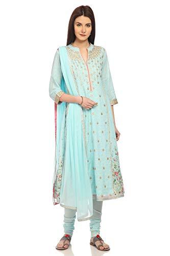 BIBA Sky Blue A Line Cotton Suit Set Size 36 (Salwar Suit Blue)