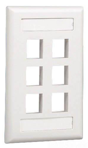 (Panduit NK6FEIY 1-Gang 6-Port Faceplate with Label, Electric Ivory)