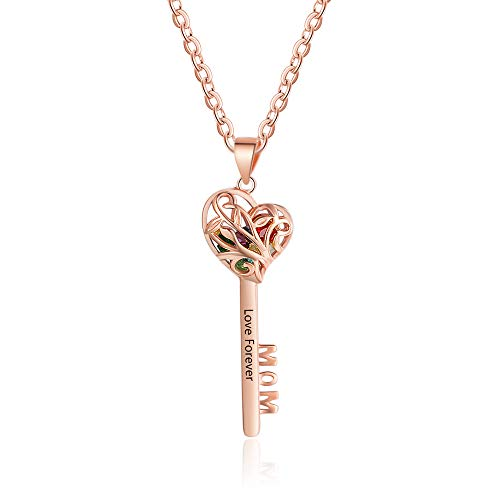Personalized Heart Key Pendant Locket Necklace for Women Engraved Family Simulated Birthstone Pendant for Couples (Rose Gold) ()