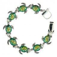 "Designer Inspired Silver & Green ""Turtle"" Magnetic Bracelet"