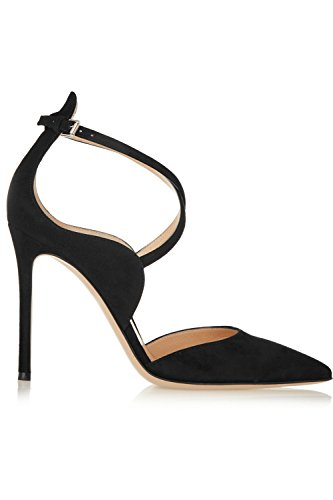 Kevin Fashion KLSDN199 Womens Pointed Toe Suede Club Party Evening Pumps Shoes Black aDn8PK