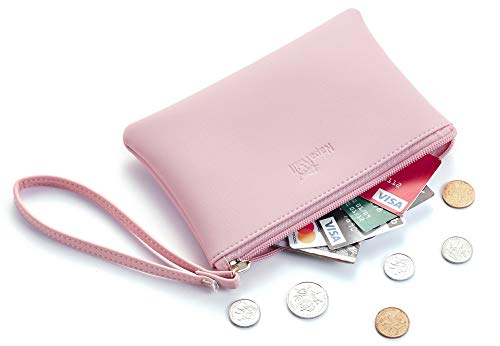 NapaWalli Genuine Leather Cash Coin Purse Pouch Make up Cellphone Bag with Strap (Cutie Pink Lotus) ()