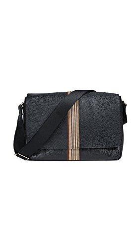 Smith Bags Paul (Paul Smith Men's Multistripe Webbing Messenger, Black, One Size)