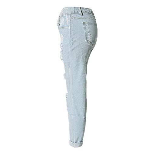 Tempo Colori Per Pantaloni Donne Libero Del Allentato Il Diritto Tre Fit Jeans Distrutti Dei Slim Strappati Blu Denim Foro NX80POkwn