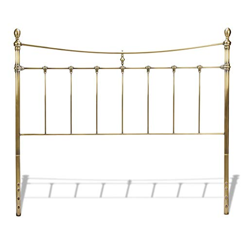 Leggett & Platt Leighton Metal Headboard Panel with Straight-Lined Spindles and Scalloped Castings, Glazed Brass Finish, Queen