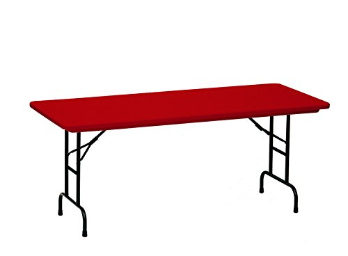 "Correll R Series Adjustable Plastic Folding Table, 30"" x 72"", Deep Red"