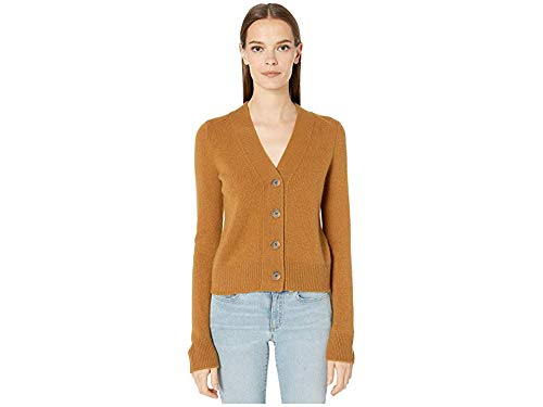 (Vince Women's Shrunken Button Cashmere Cardigan, Teakwood, Tan, X-Small)