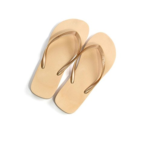 Baymate Mujer Caramelo Color Chanclas Zapatos De La Playa Simple Sandalias Planas Beige
