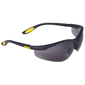 Dewalt DPG58-2C Reinforcer Smoke Lens High Performance Protective Safety Glasses with Rubber Temples